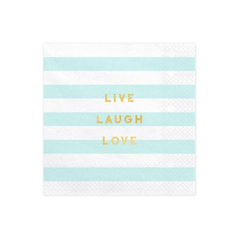 Image of   Servietter blå pastel Live, Laugh, Love
